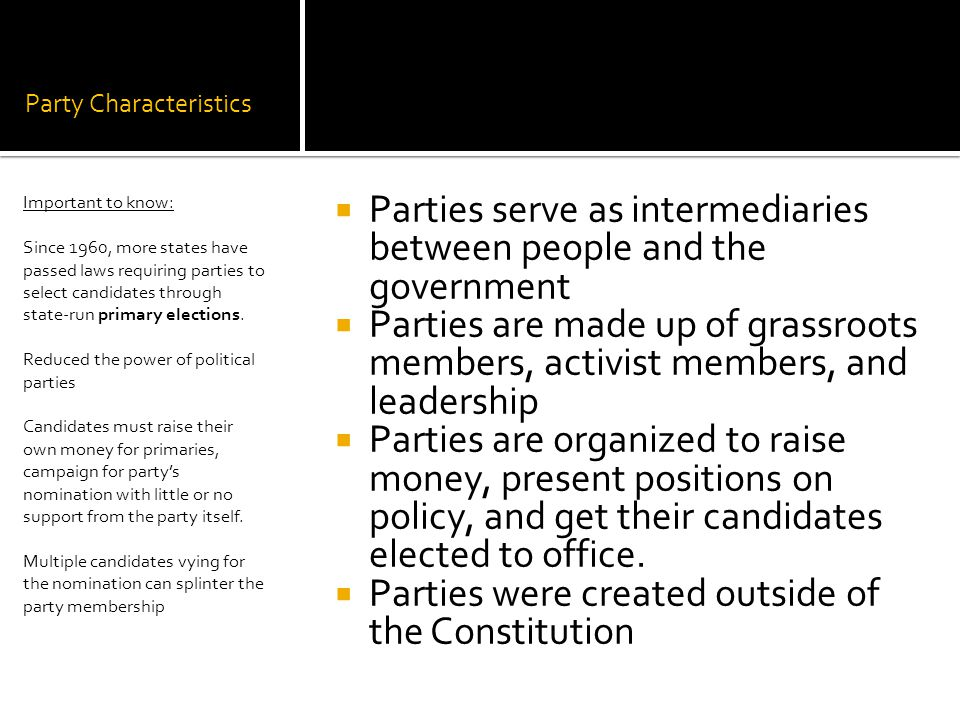 Third Parties  Third parties that represent an ideology considered too radical are call doctrinal parties.