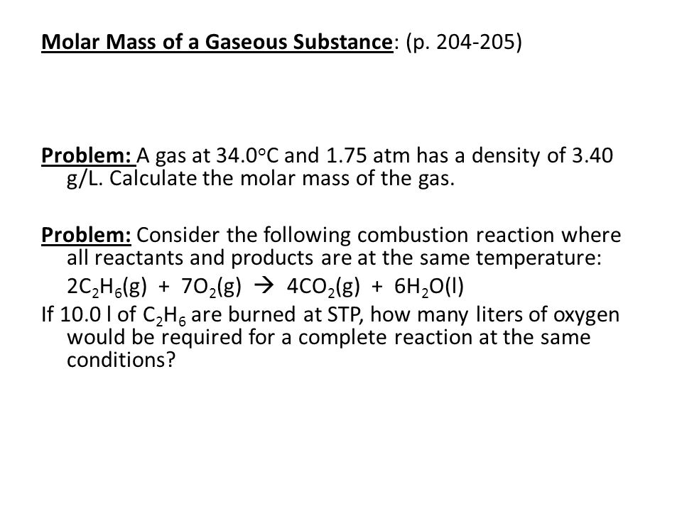 Molar Mass of a Gaseous Substance: (p.