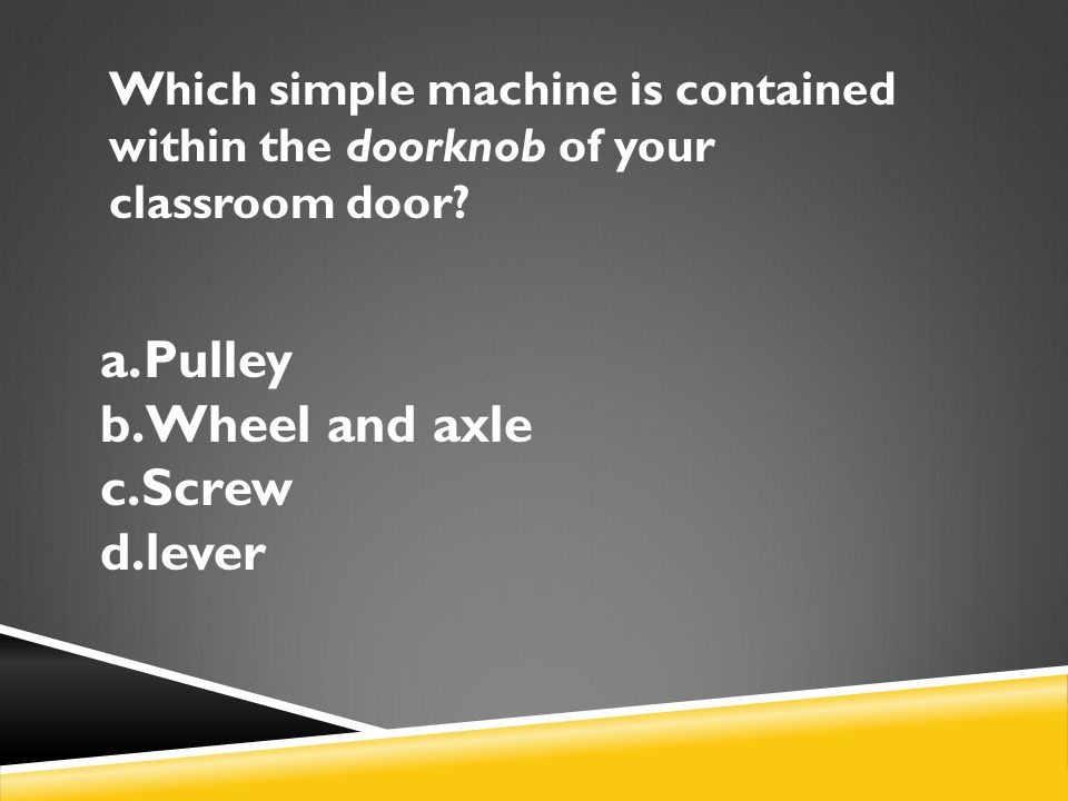 Which simple machine is contained within the doorknob of your classroom door.