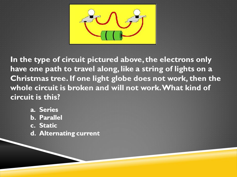 In the type of circuit pictured above, the electrons only have one path to travel along, like a string of lights on a Christmas tree. If one light glo