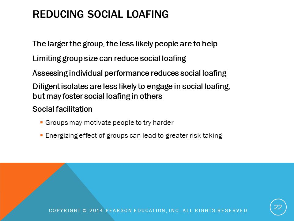 REDUCING SOCIAL LOAFING The larger the group, the less likely people are to help Limiting group size can reduce social loafing Assessing individual pe