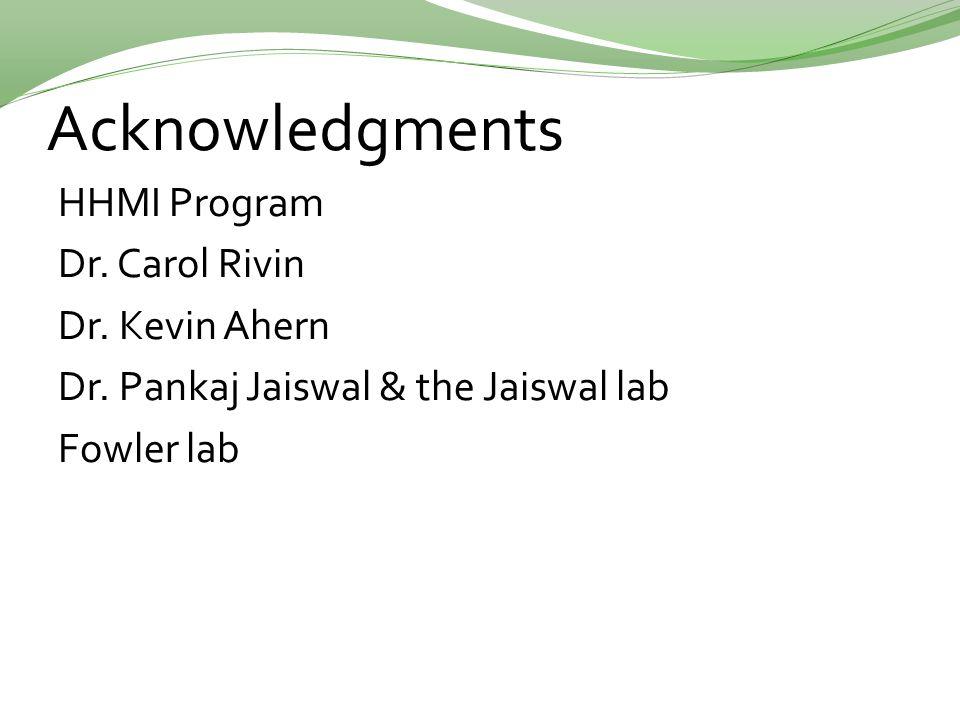 Acknowledgments HHMI Program Dr. Carol Rivin Dr. Kevin Ahern Dr. Pankaj Jaiswal & the Jaiswal lab Fowler lab