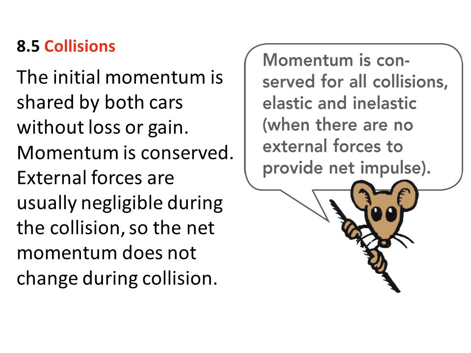The initial momentum is shared by both cars without loss or gain. Momentum is conserved. External forces are usually negligible during the collision,