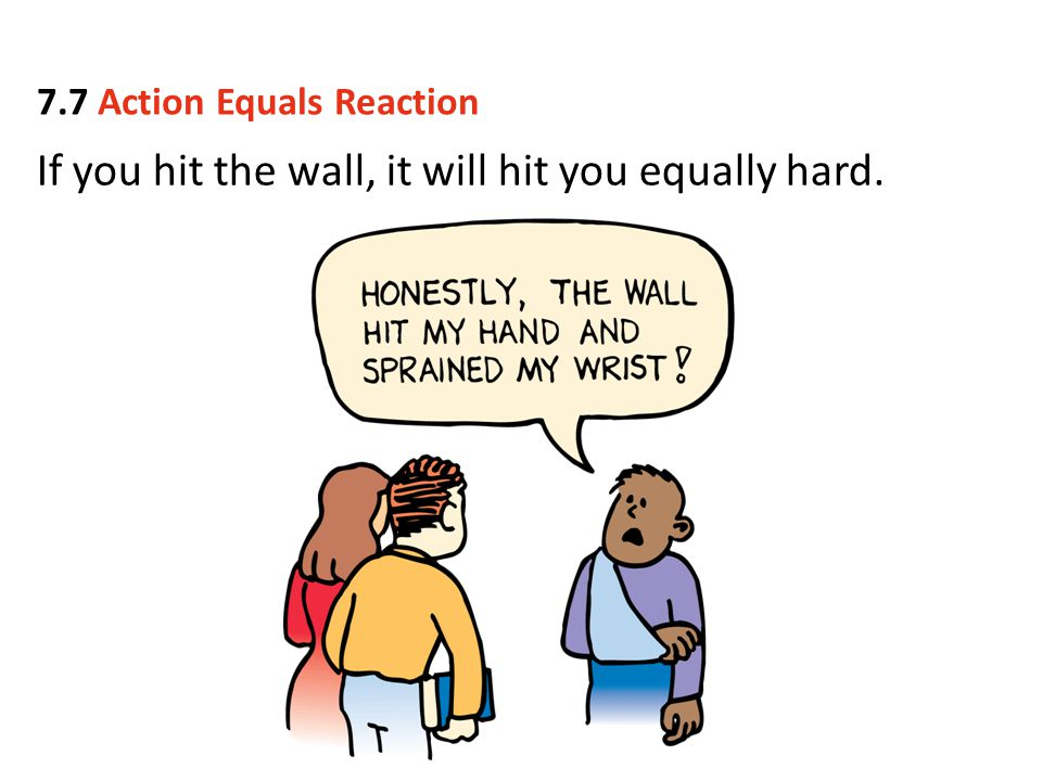 If you hit the wall, it will hit you equally hard. 7.7 Action Equals Reaction