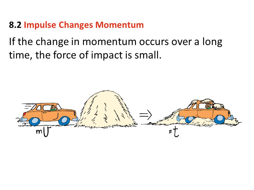 If the change in momentum occurs over a long time, the force of impact is small. 8.2 Impulse Changes Momentum