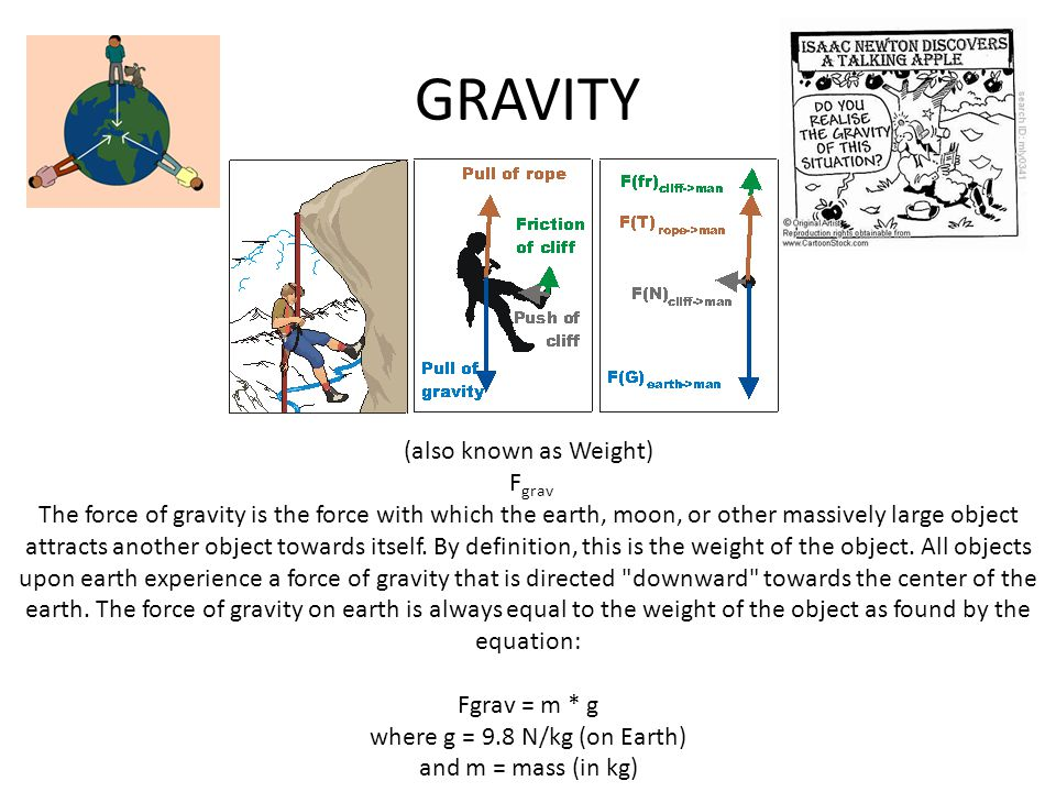 GRAVITY (also known as Weight) F grav The force of gravity is the force with which the earth, moon, or other massively large object attracts another o