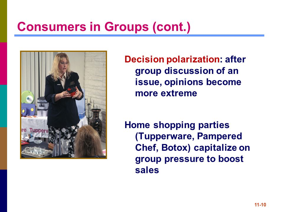 11-10 Consumers in Groups (cont.) Decision polarization: after group discussion of an issue, opinions become more extreme Home shopping parties (Tuppe