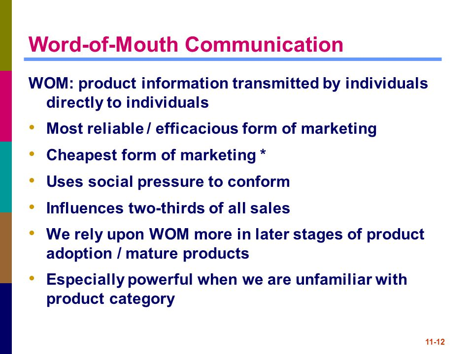 11-12 Word-of-Mouth Communication WOM: product information transmitted by individuals directly to individuals Most reliable / efficacious form of mark