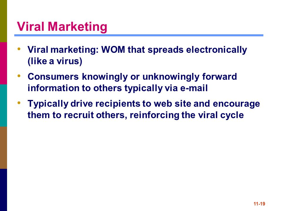 11-19 Viral Marketing Viral marketing: WOM that spreads electronically (like a virus) Consumers knowingly or unknowingly forward information to others