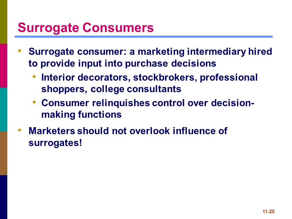 11-25 Surrogate Consumers Surrogate consumer: a marketing intermediary hired to provide input into purchase decisions Interior decorators, stockbroker