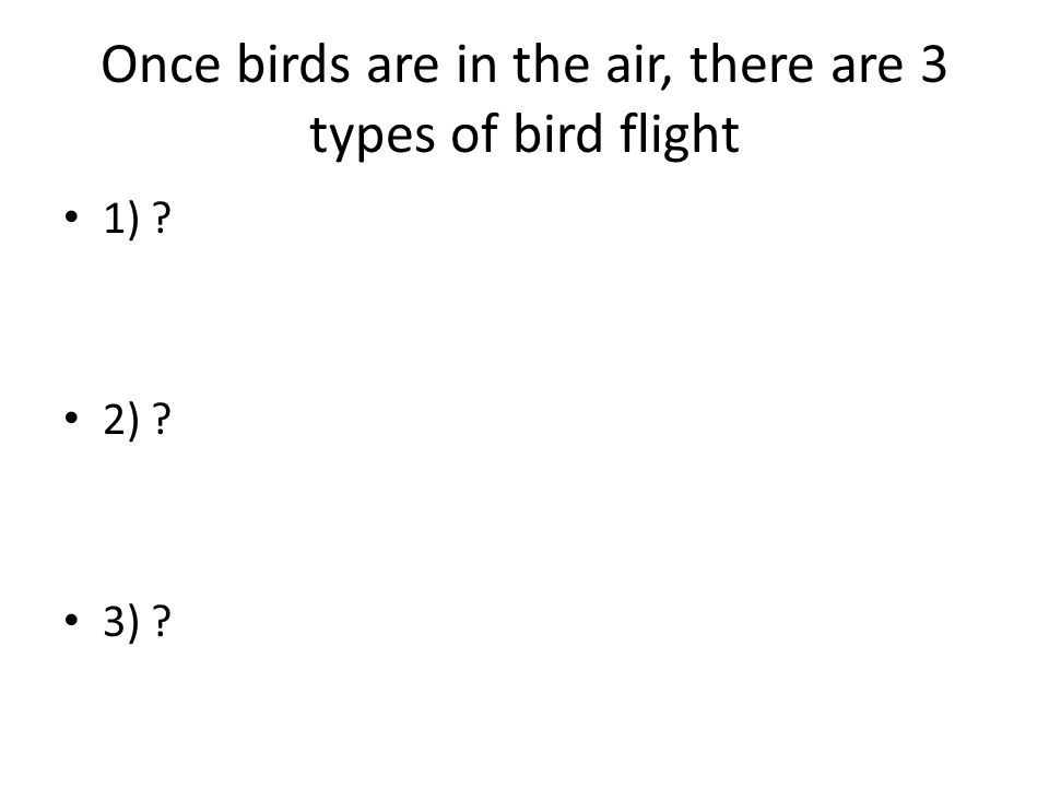 Once birds are in the air, there are 3 types of bird flight 1) ? 2) ? 3) ?