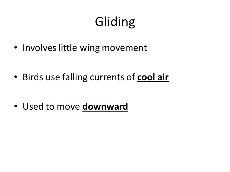 Gliding Involves little wing movement Birds use falling currents of cool air Used to move downward