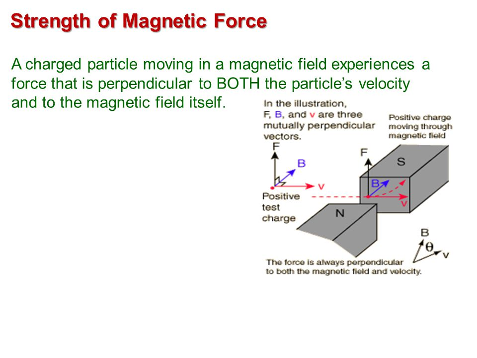 F = qvB sin  Strength of Magnetic Force A charged particle moving in a magnetic field experiences a force that is perpendicular to BOTH the particle's velocity and to the magnetic field itself.