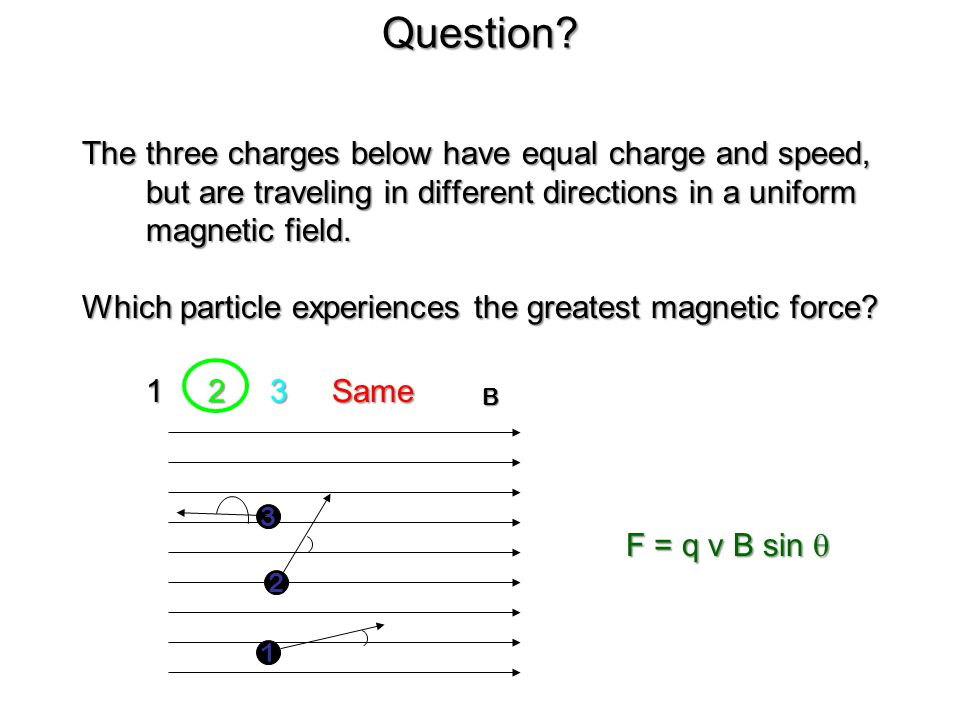 Magnetic Field & Magnetic Force Problems We do: What is the minimum magnetic field necessary to exert a 5.4 X 10 -15 N force on an electron moving at 2.1 X 10 7 m/s?
