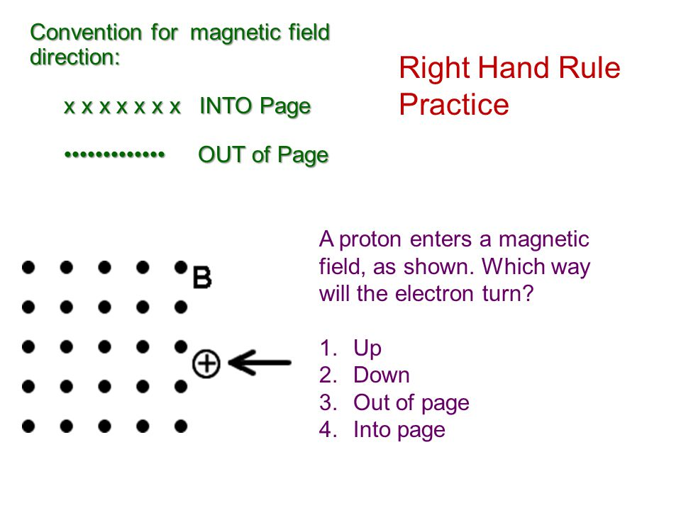 Convention for magnetic field direction: x x x x x x x INTO Page OUT of Page OUT of Page Right Hand Rule Practice A proton enters a magnetic field, as