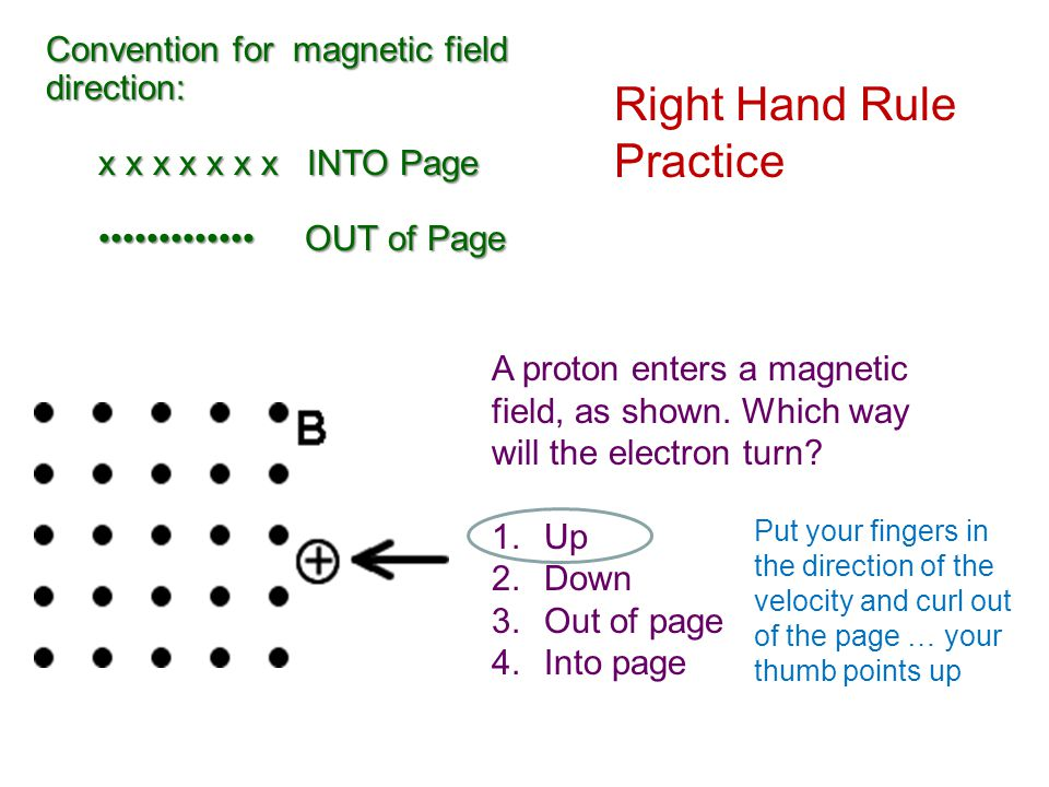 Magnetic Field & Magnetic Force Problems You do: What is the magnetic field necessary to exert a 5.4 X 10 -15 N force on an electron moving at 2.1 X 10 7 m/s if the magnetic field is at 45 degrees from the electron's velocity.