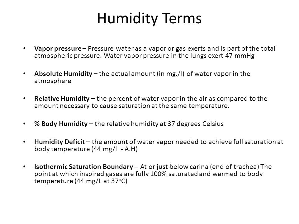 Vapor pressure – Pressure water as a vapor or gas exerts and is part of the total atmospheric pressure.