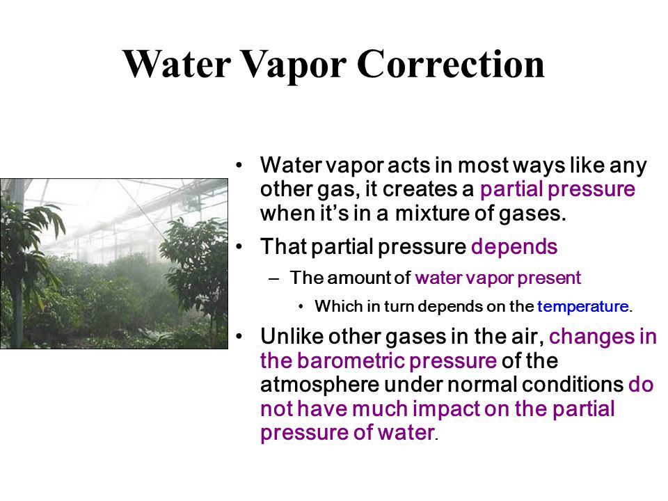 Water Vapor Correction Water vapor acts in most ways like any other gas, it creates a partial pressure when it's in a mixture of gases.