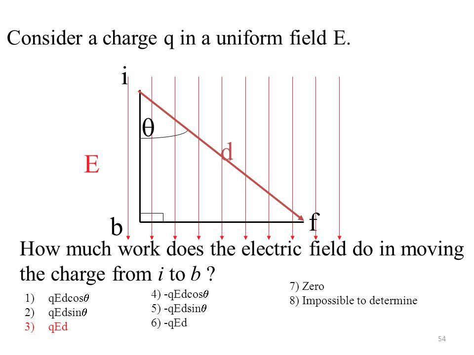 54 E  d i f b Consider a charge q in a uniform field E.
