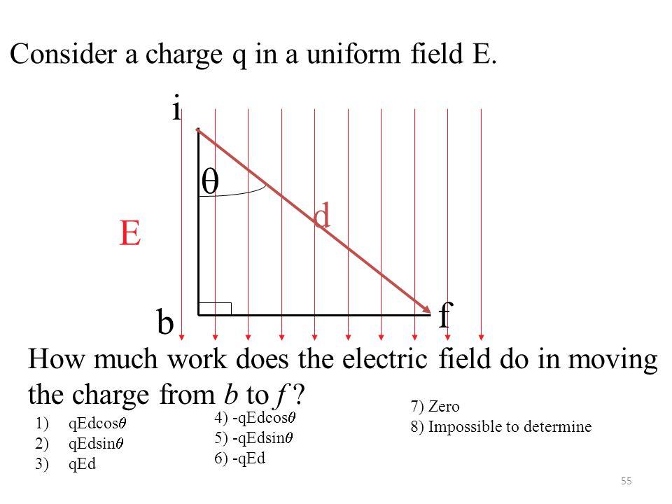 55 E  d i f b Consider a charge q in a uniform field E.
