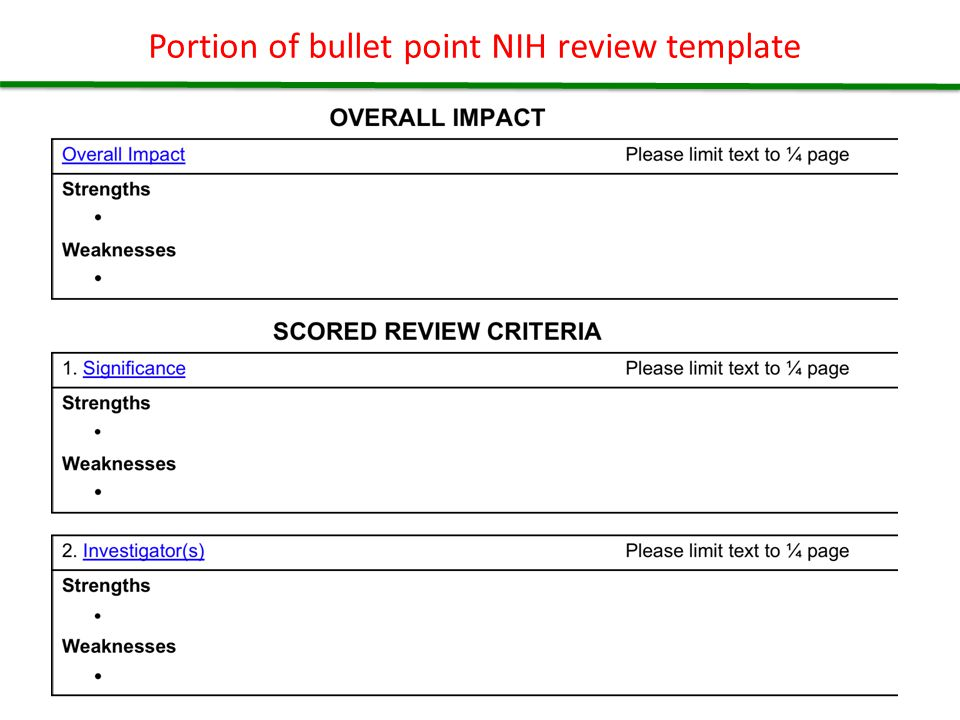 Portion of bullet point NIH review template