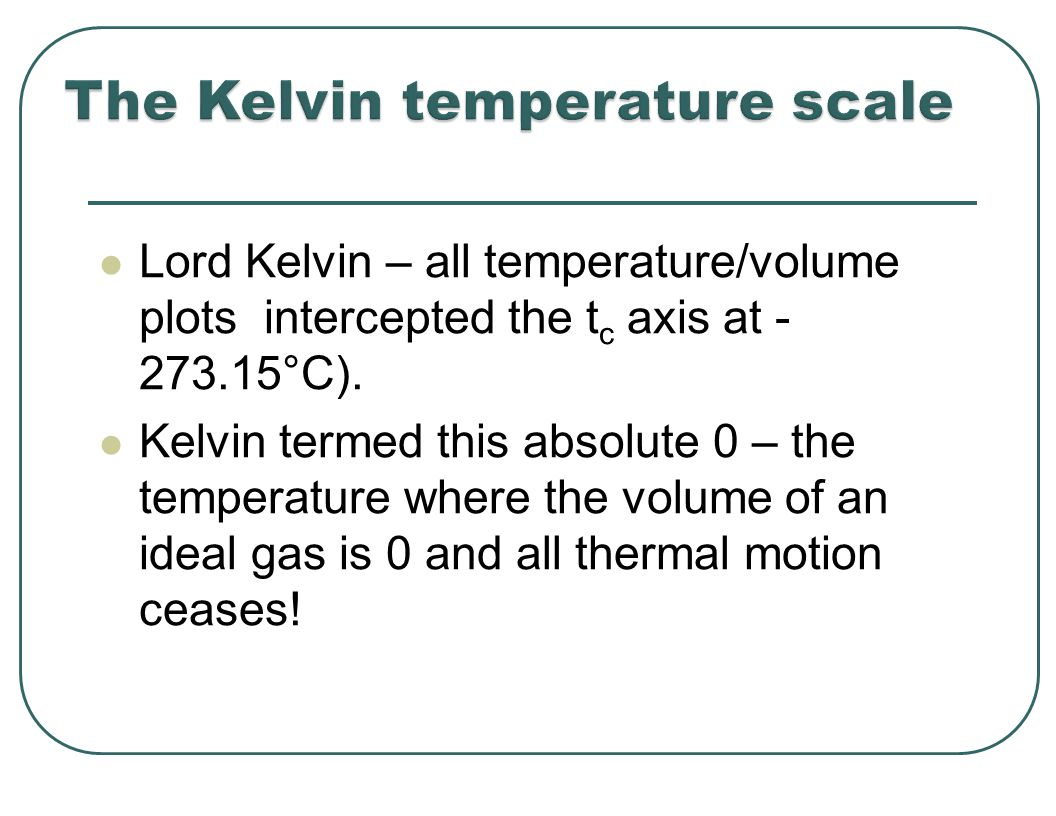 Lord Kelvin – all temperature/volume plots intercepted the t c axis at - 273.15°C).