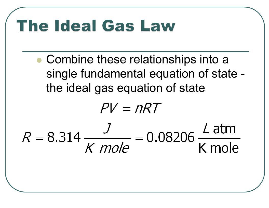 Combine these relationships into a single fundamental equation of state - the ideal gas equation of state