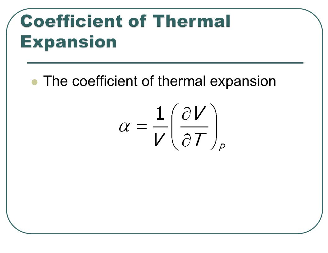 The coefficient of thermal expansion