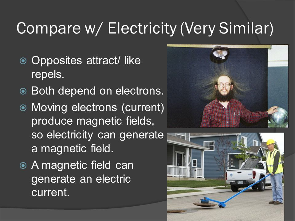 Compare w/ Electricity (Very Similar)  Opposites attract/ like repels.