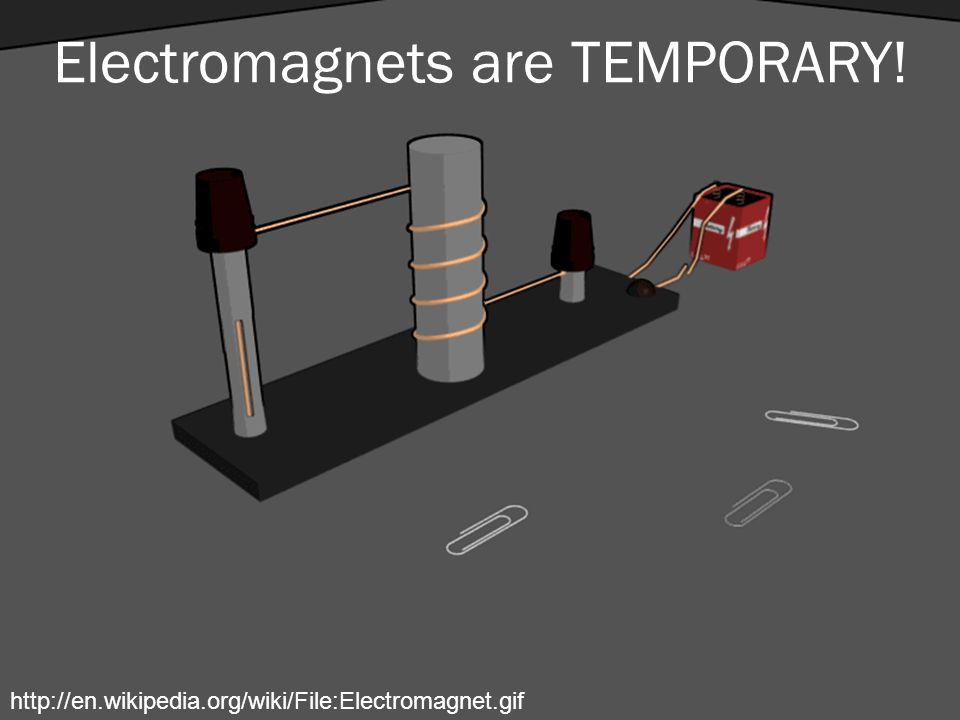 Electromagnets are TEMPORARY! http://en.wikipedia.org/wiki/File:Electromagnet.gif