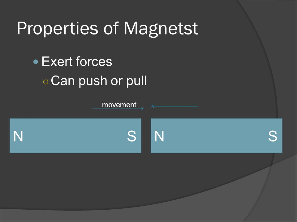 Properties of Magnetst Exert forces ○ Can push or pull N S movement