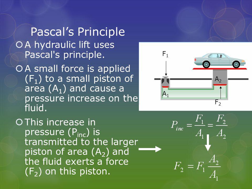 Pascal's Principle  A hydraulic lift uses Pascal s principle.