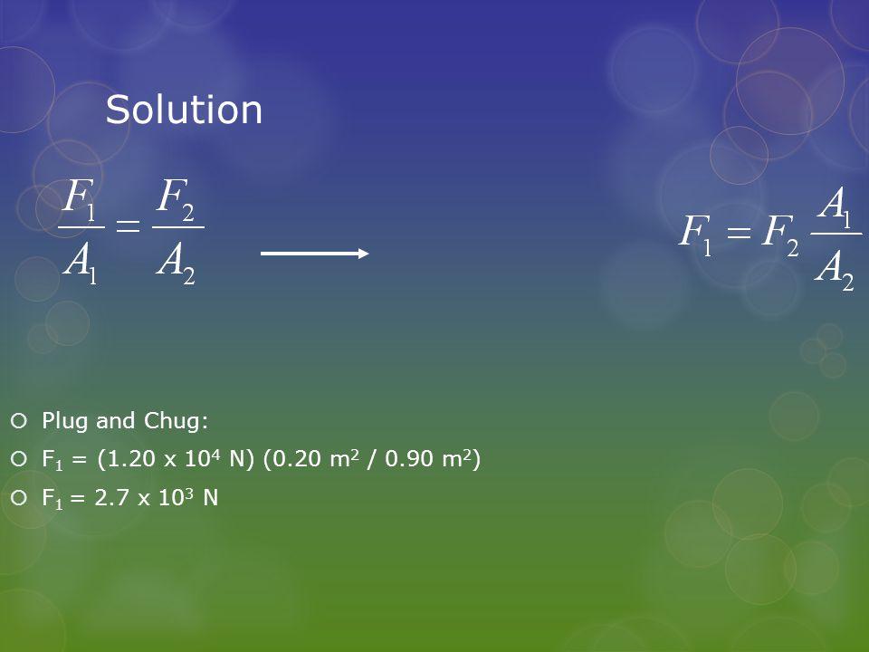 Solution  Plug and Chug:  F 1 = (1.20 x 10 4 N) (0.20 m 2 / 0.90 m 2 )  F 1 = 2.7 x 10 3 N