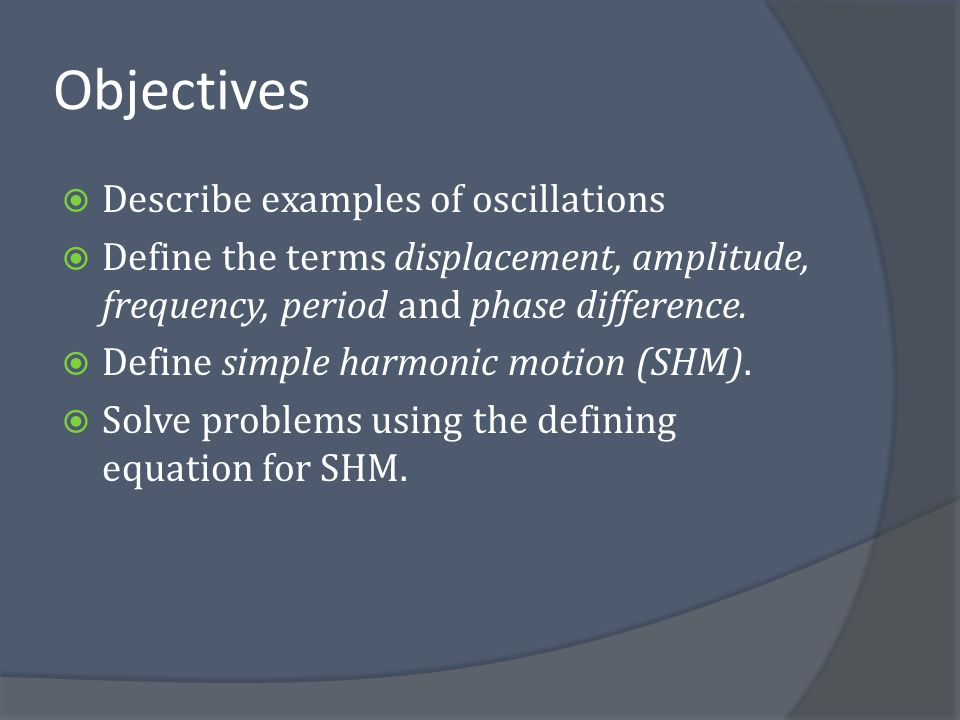 Objectives  Apply equations for the kinematics of SHM.