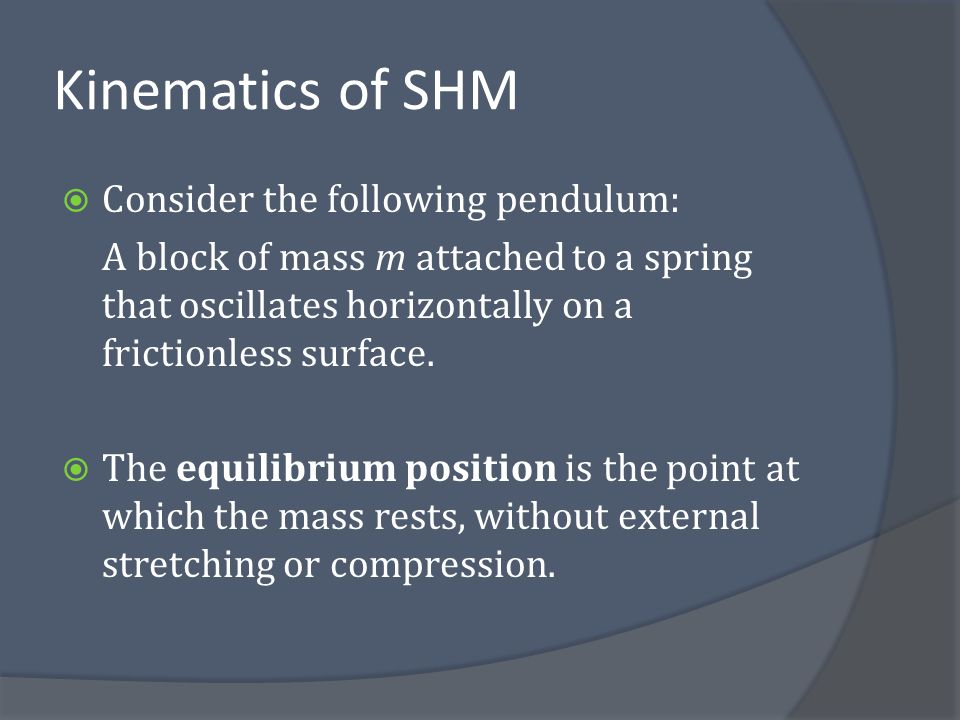 Periodic nature of SHM  Imagine the motion of a simple pendulum oscillating vertically.