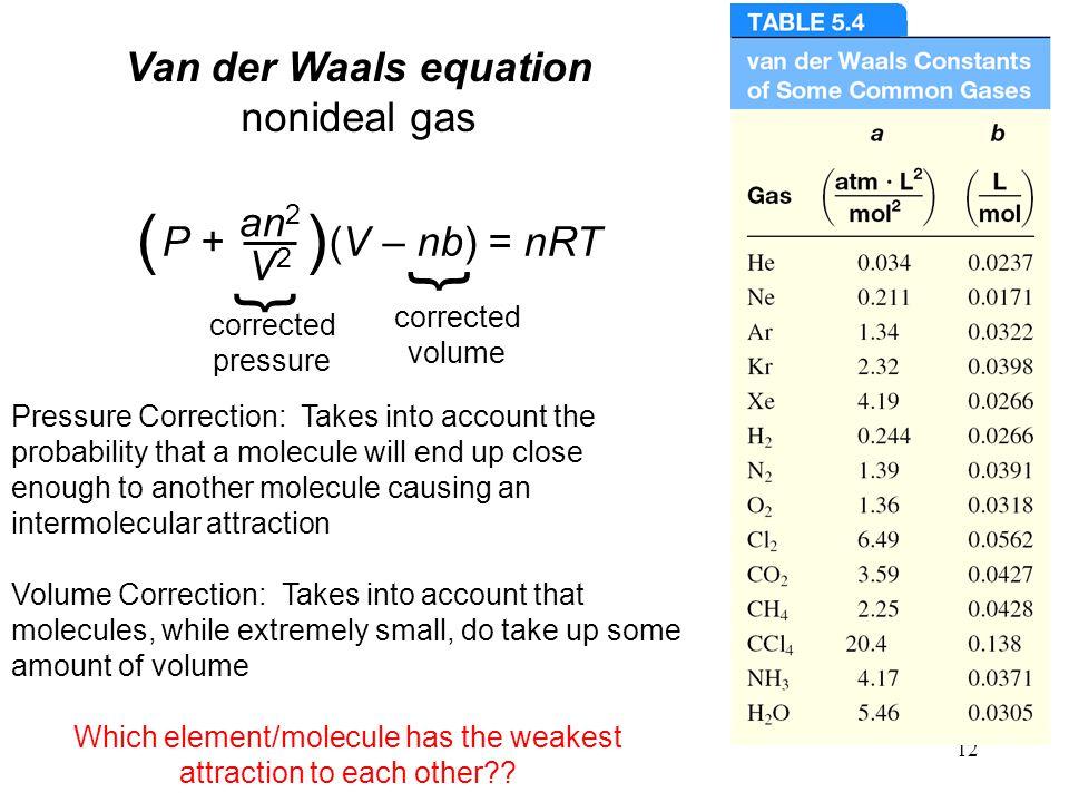 12 Van der Waals equation nonideal gas P + (V – nb) = nRT an 2 V2V2 () } corrected pressure } corrected volume Pressure Correction: Takes into account