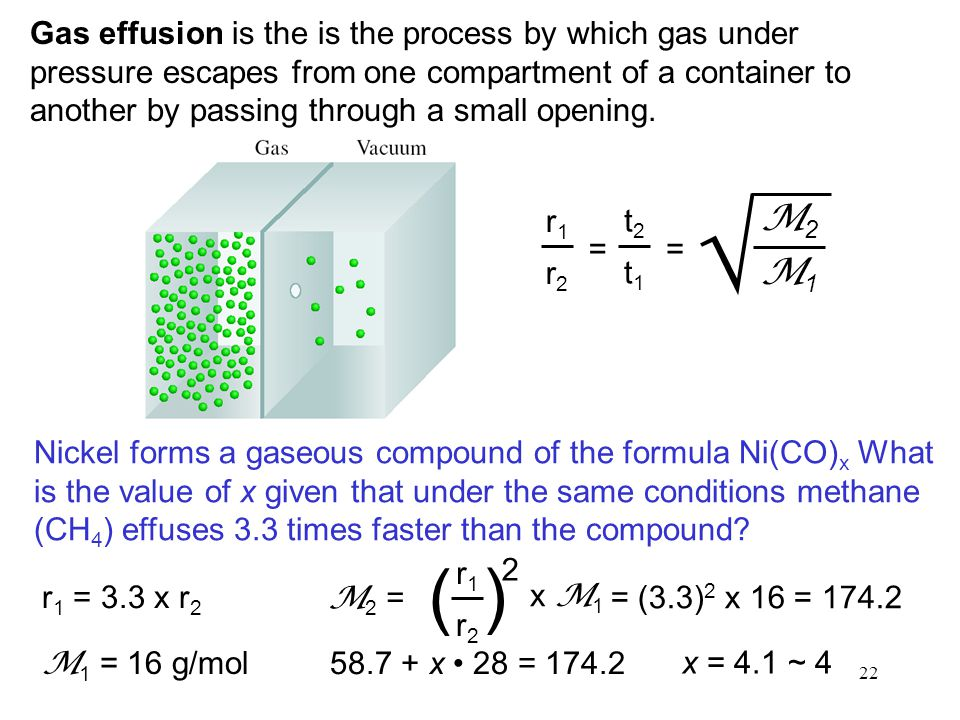 22 Gas effusion is the is the process by which gas under pressure escapes from one compartment of a container to another by passing through a small op