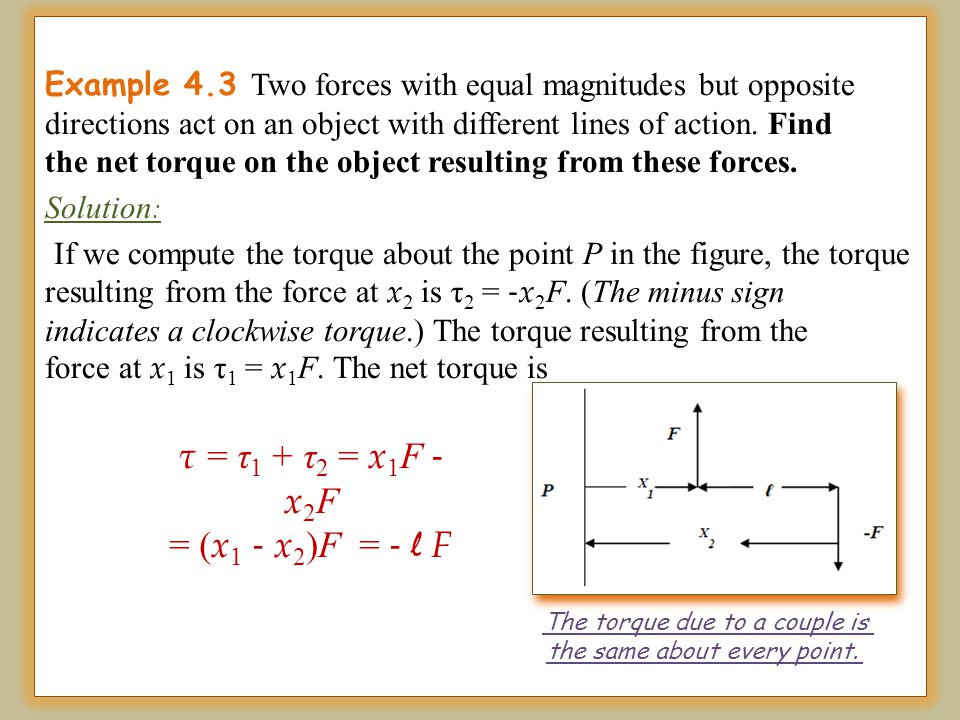 Example 4.3 Two forces with equal magnitudes but opposite directions act on an object with different lines of action. Find the net torque on the objec