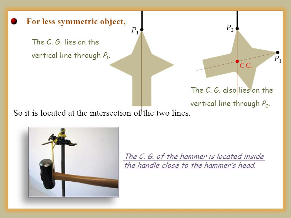 For less symmetric object, The C. G. also lies on the vertical line through P 2. The C. G. lies on the vertical line through P 1. So it is located at