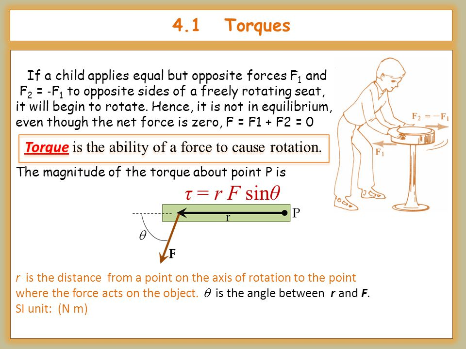 4.1 Torques If a child applies equal but opposite forces F 1 and F 2 = ‐ F 1 to opposite sides of a freely rotating seat, it will begin to rotate. Hen