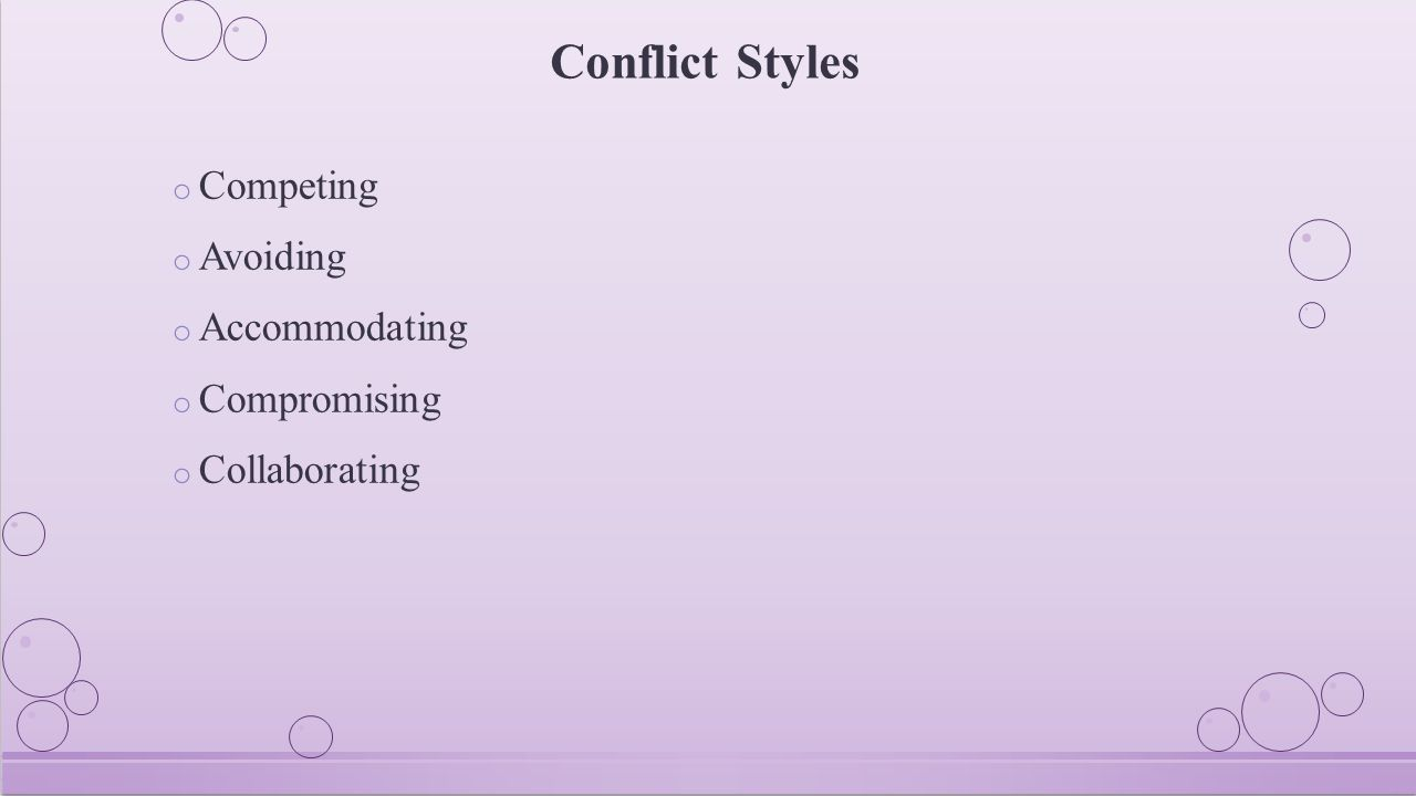 Conflict Styles o Competing o Avoiding o Accommodating o Compromising o Collaborating