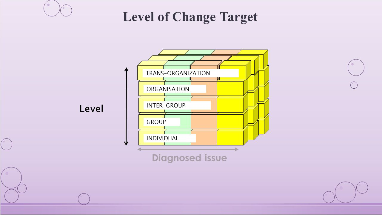 Level of Change Target INDIVIDUAL GROUP INTER-GROUP ORGANISATION Level Diagnosed issue TRANS-ORGANIZATION