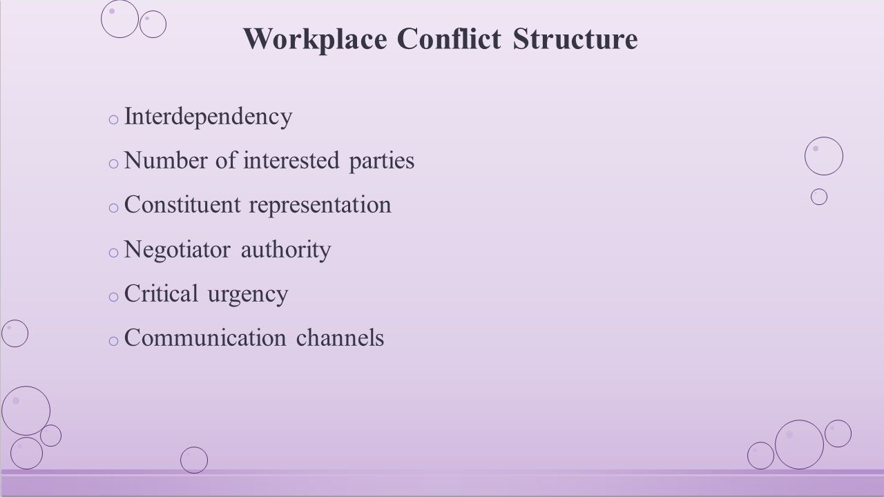 Conflict Reiterated o More than a mere disagreement o Participants respond on the basis of their perceptions to the situation o Conflicts contain substantial, procedural, and psychological dimensions o Conflicts are predictable and to be expected o Creative problem-solving strategies are essential