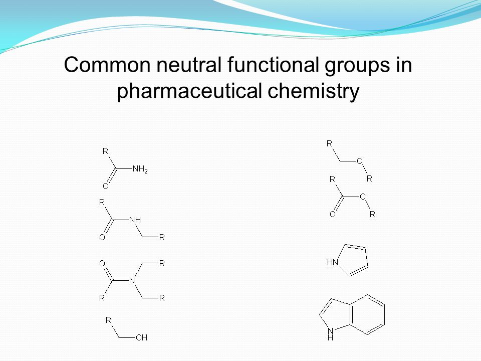 Common neutral functional groups in pharmaceutical chemistry