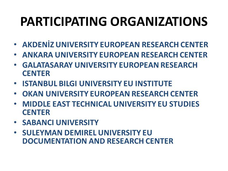 PARTICIPATING ORGANIZATIONS AKDENİZ UNIVERSITY EUROPEAN RESEARCH CENTER ANKARA UNIVERSITY EUROPEAN RESEARCH CENTER GALATASARAY UNIVERSITY EUROPEAN RESEARCH CENTER ISTANBUL BILGI UNIVERSITY EU INSTITUTE OKAN UNIVERSITY EUROPEAN RESEARCH CENTER MIDDLE EAST TECHNICAL UNIVERSITY EU STUDIES CENTER SABANCI UNIVERSITY SULEYMAN DEMIREL UNIVERSITY EU DOCUMENTATION AND RESEARCH CENTER