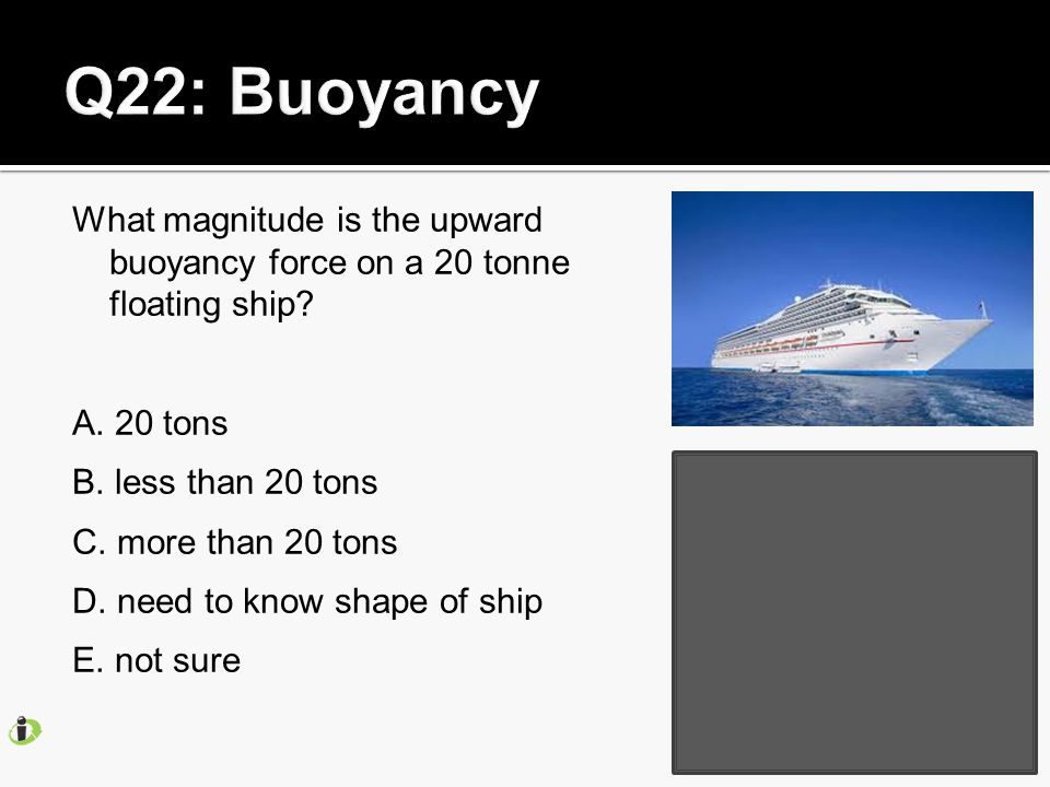What magnitude is the upward buoyancy force on a 20 tonne floating ship.