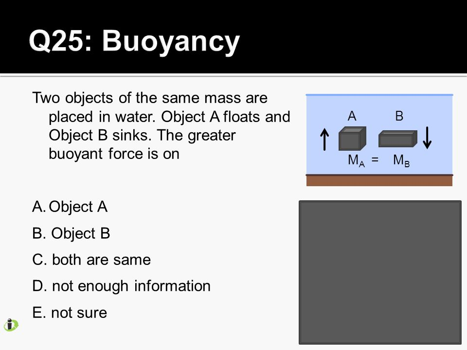 Two objects of the same mass are placed in water. Object A floats and Object B sinks.