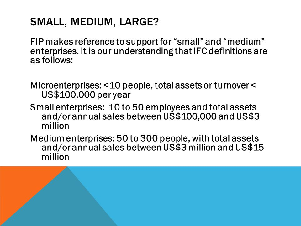 SMALL, MEDIUM, LARGE. FIP makes reference to support for small and medium enterprises.