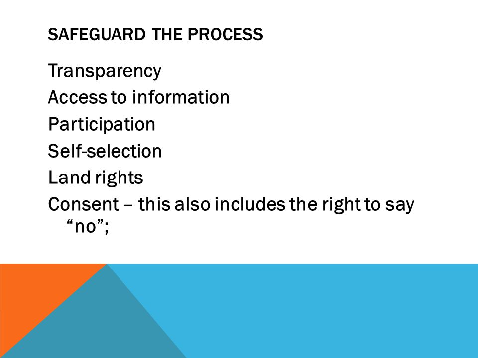 """SAFEGUARD THE PROCESS Transparency Access to information Participation Self-selection Land rights Consent – this also includes the right to say """"no"""";"""