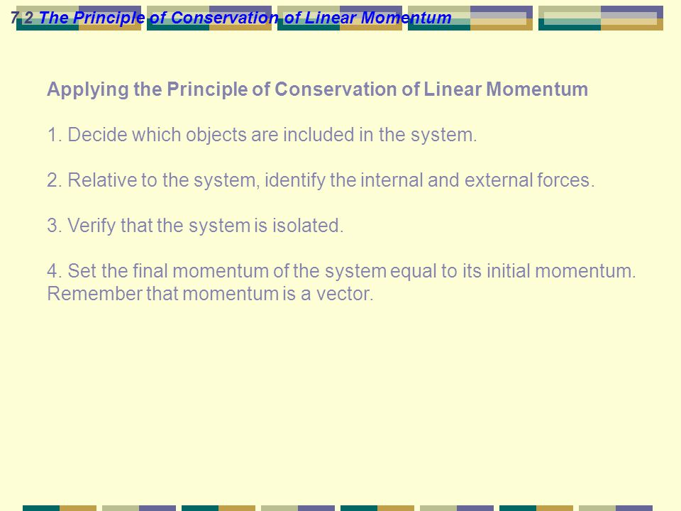 Applying the Principle of Conservation of Linear Momentum 1.